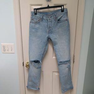 Distressed light blue Levi's 501 jeans sz 27